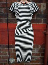 Ladies Size 16 monochrome Stripe Pencil Dress Wiggle Slimming Work office career