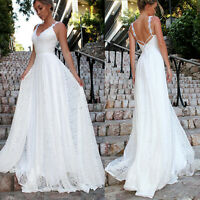 White Women V Neck Sleeveless Long Dresses Wedding Bridesmaid Party Gown Dress