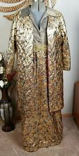 Vintage Alfred  Weber Metallic  Party Wedding Dress And coat Maxi Medium