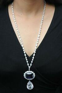 925 Sterling Silver Necklace Detachable pendant Hope cushion tennis Blue Cushion