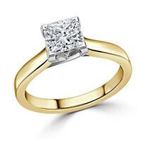 1.00 Ct Princess Cut Diamond Engagement Ring 14K Yellow Gold Rings Size 4 5 6