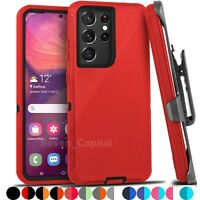 For Samsung Galaxy S21 21+ Ultra Shockproof Protective Rugged Case + Belt Clip