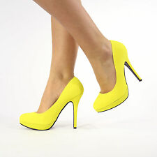 Womens Ladies High Stiletto Heel Platform Court Shoes Size 3-8 Yellow Suede UK 6 EU 39