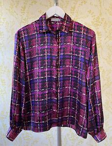"AQUASCUTUM vintage 80s 90s purple pink satin check blouse 38"" 14-16 gold buttons"
