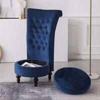 Velvet Accent Chair Upholstered High Back Vanity Stool Living Room Bedroom Blue