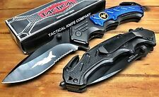 Spring Assisted Tactical Air Force Folding Pocket Knife with Seatbelt Cutter 702