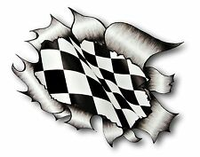 Ripped Torn Metal Look Design & Flying Chequered Racing Flag vinyl car sticker