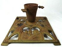Vintage Rare Art Deco Style Christmas Tree Stand Gesetzl Gesch Germany Gold/Rust