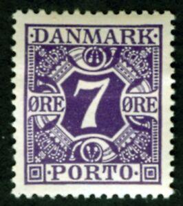 Denmark Sc J-14 7Ö Dark Violet Postage Due M H F-VF OG  1930 Numeral of Value