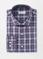 NWT Peter Millar Crown Soft Crestline Plaid Sport Shirt Blackberry Size Large
