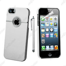 Housse Coque Rigide Silver-Line chromé Blanc Apple iPhone SE 5S 5 + Stylet