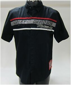 Harley Davidson Men's M-Medium Black Short  Sleeve Shirt Woven  96526-13VM/000M
