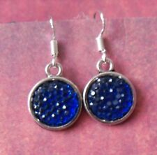 "Blue Sparkle Earrings on Silver plate fish hook wire ""549"" !"