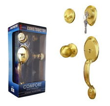 Constructor CON-COM-PB Comfort Entry Lock Set w Door Lever Handle Polished Brass