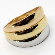 ANILLO ORO AMARILLO BLANCO Y ROSA 750 18 CT, BANDA, TRES COLORES, MADE IN ITALY