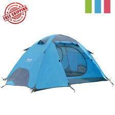 Blue Tent Double Layer 2 Person 4 Season Outdoor Camping Wind Snow Skirt Light