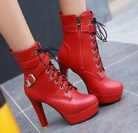 Women's Stilettos High Heel Leather Zip Ankle Boots Buckle Lace Up Shoe Sbox