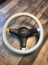 Your Rover Mini Cooper Steering Wheel Re-trimmed In Beige Leather Black stitch