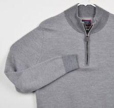 UNTUCKit Men's Sz Medium/XL? 100% Merino Wool Gray 1/4 Zip Pullover Sweater