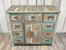 Rustic wood large sideboard 1 door cabinet with 9 drawers, Vintage style cabinet