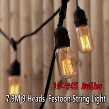 9 Heads Vintage E27 Screw Lamp Holder Patio String Lights + 10 Edison 40W Bulbs