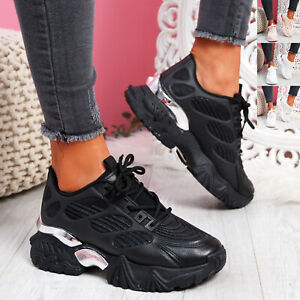Womens Ladies White Black Chunky Trainers Sneakers Sole Platform UK Size 3-8