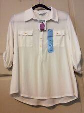 NEW Women L/XL/M Shirt Top White Cream Blouse $59 Career Henley Roll Up Sleeves