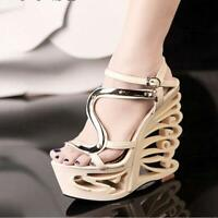 Womens Irregular Wedge High Heel Platform Flower Peep Toe Party Sandal Shoes New