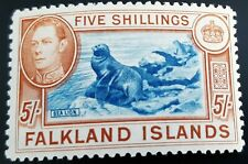FALKLAND ISLANDS GEORGE VI 1938 SG 161 5/- BLUE & CHESTNUT SUPERB LIGHTLY HINGED