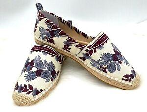 NIB Tory Burch Grosgrain Whipstitch Floral Cotton Espadrille Flat Shoe In 9M