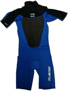 Billabong Foil 202 Junior Shorty Spring Suit Wetsuit 2mm Size 16, Blue & Black