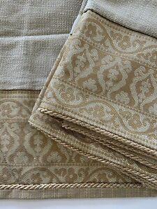 2 Croscill Gold Rope Trim Euro Pillow Shams Lovely