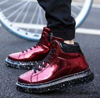 Mens Lace Up High Top Sneakers Platform Sneaker Glitter Shoes Ankle Boots