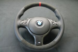 LENKRAD BMW E46 M-TECHNIK ORIGINAL LEDER/ALCANTARA  NEU BEZIEHEN
