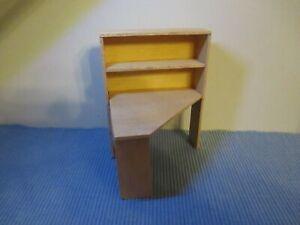 Schreibtisch mit Regal Holz Buchenholz  Miniatur Puppenstube/Puppenhaus 1:12