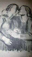 VINTAGE CHARCOAL LITHOGRAPH SIGNED KISSING PREGNANT WOMEN PICTURE GERMAN???