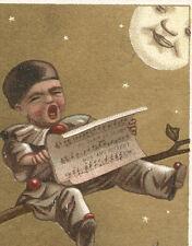 HAPPY FULL MOON, PROVIDENCE RI FURN CO TRADE CARD, SINGING CLOWN ON A LIMB  C904