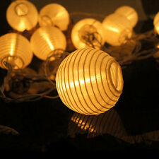 Solar LED Lampionkette Lichterkette Mit 10/20 Warmweiß Bunt Lampions Innen Neu