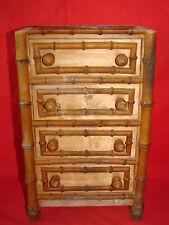 Ancienne petite commode de poupée façon bambou - Jouet