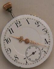 Old pendant watch movement & enamel dial 27 mm. in diameter balance Ok.