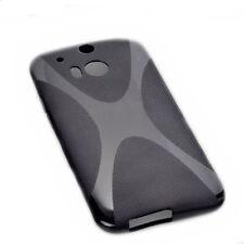 X-Rubber silicona TPU, móvil cover case Black para HTC One m8 + protector de pantalla
