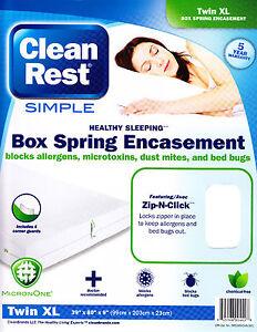 Clean Rest Simple Bed Bug & Allergen Blocking Box Spring Encasement Zip-N-Click