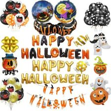 Gold Halloween Latex Balloons Banner Bunting Helium Party Decorations pumpkin