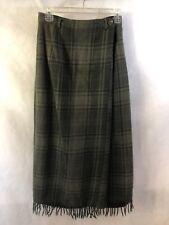 RALPH LAUREN Green Plaid Wool Lined Straight Wrap Blanket Skirt Fringe 6 Small