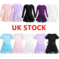 Girls Ballet Tutu Dress Long Sleeve Leotard Bodysuit Skirt Kids Dancewear Outfit