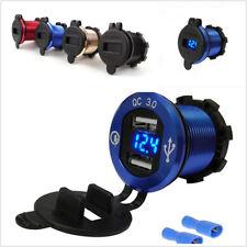 Smart 4.2A Metal QC3.0 Motorbike 2USB Cigarette Lighter Charger Blue LED Display