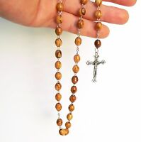 Olive Wood Beads Rosary Prayer Necklace +Holy Land Soil, Jesus Cross Mother Mary