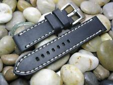 24 mm Alfa Black with White Oil Tan Distressed Leather Watch Band! strap mens