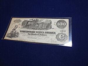 Confederate States of America (CSA) 1862 $100 Note (a14) (b239)