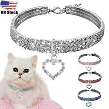 Puppy Dog Rhinestone Collars Crystal Kitten Cat Necklace Charm Pendant Chain